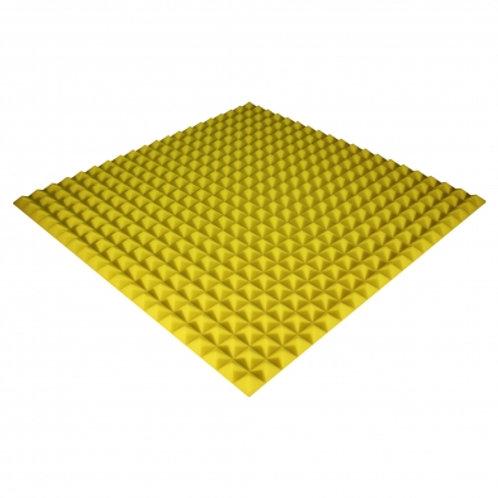 Панель из акустического поролона Ecosound Pyramid Color 30 мм 100x100 см желтая