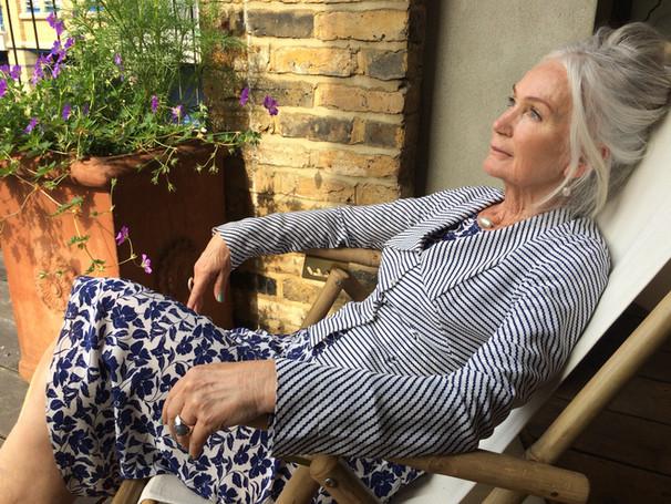Lady 'E' Blouse over Navy Vine Bias Dress