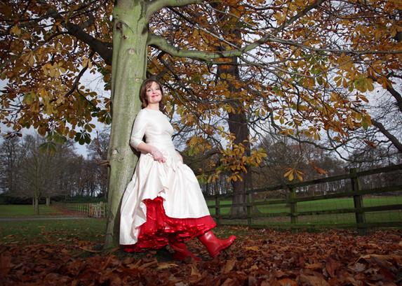 Wellies and Wedding dress