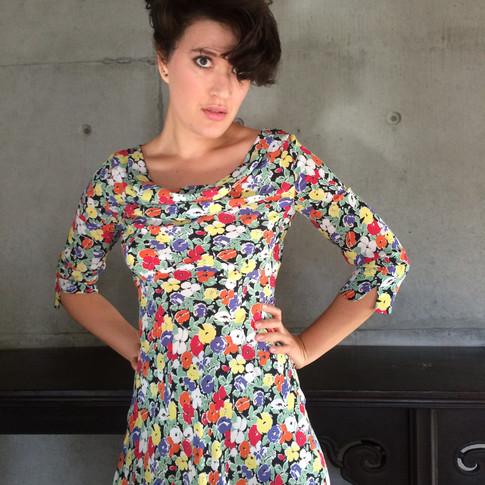 Cowl Dress in Pansies