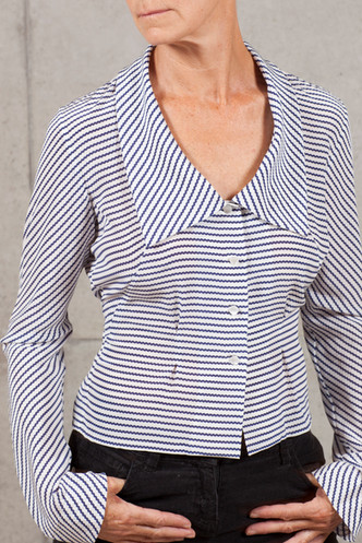 Lady 'E' Blouse in Navy Wave Stripe