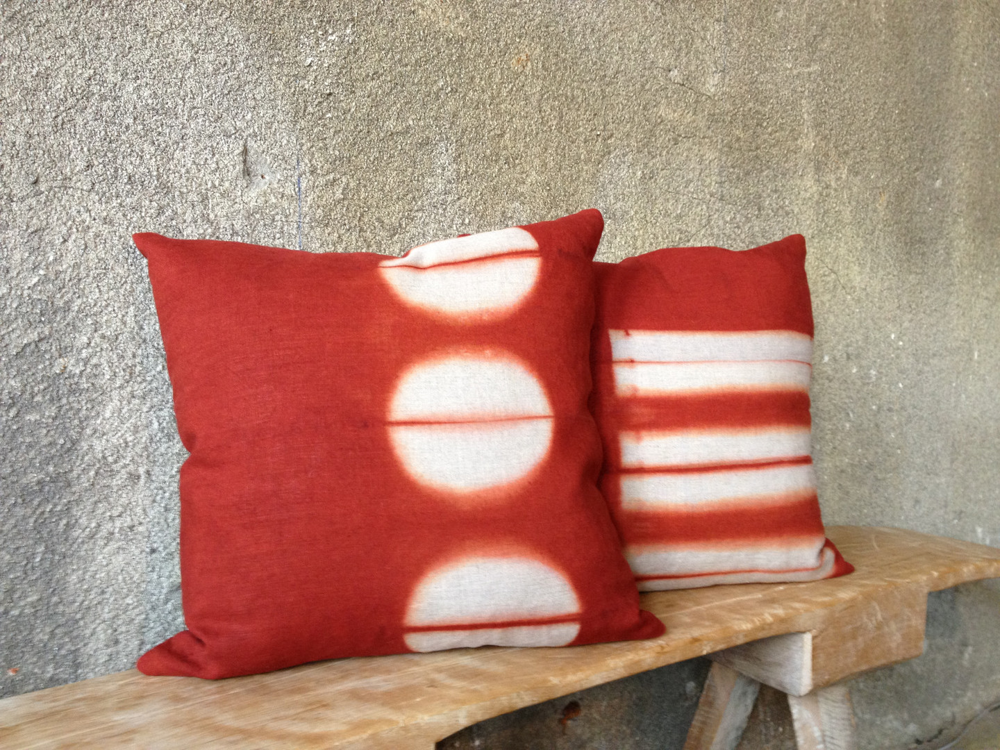 """cayenne 18"""" square pillows with split circles and horizon blocks"""
