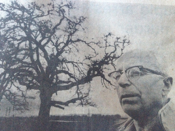"Grandpa Rufener, dairy farmer, with ""him"", a very old oak tree"