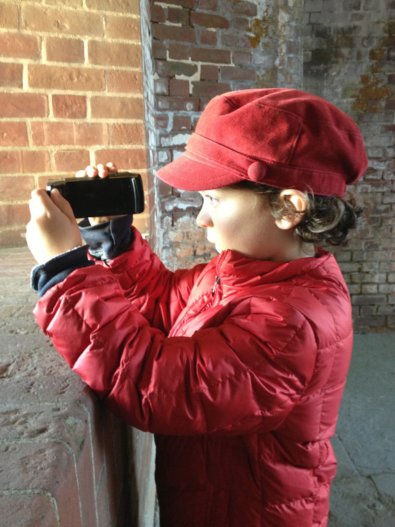 Jacobi filming at Fort Point, age 9