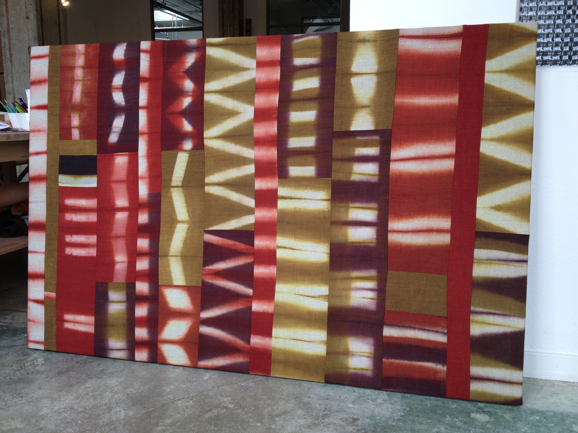 linen wallpiece dyed by Rooftop kids, 3rd grade