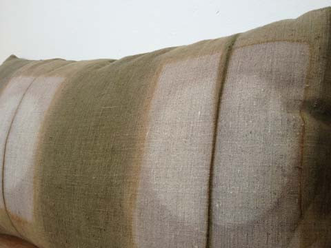 """all plants long 12"""" by 22"""" dyed pillow on linen in grey and moss"""