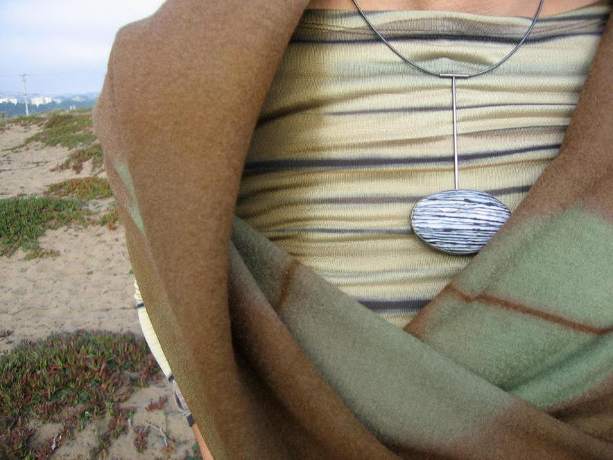 stripe top with April HIgashi enamel necklace and felted shawl