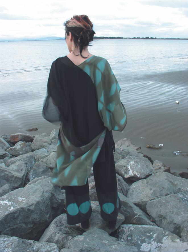 Chiffon tunic and Nani pant in sea & moss