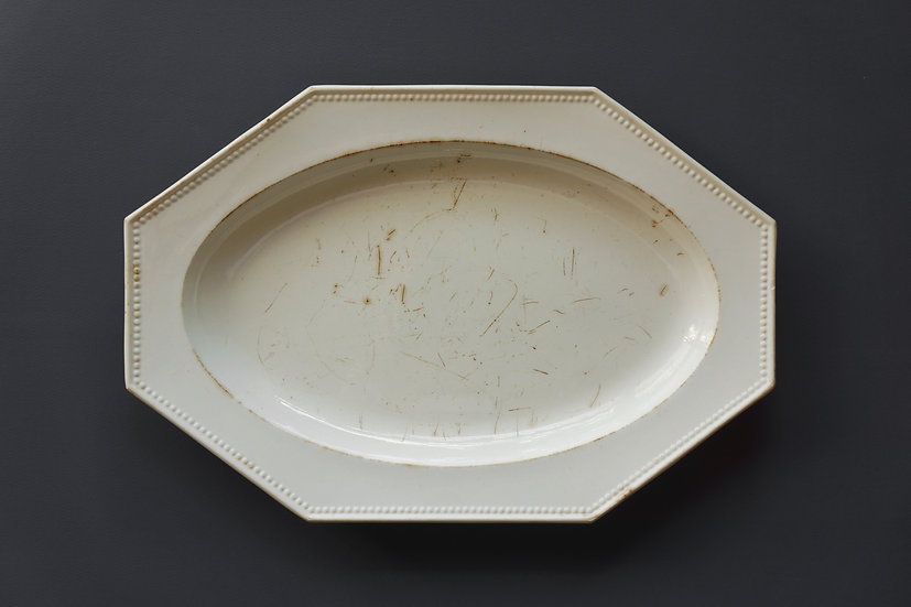 Octagonal Oval Plate / Faience Fine (possibly Creil) / -1820 FRANCE