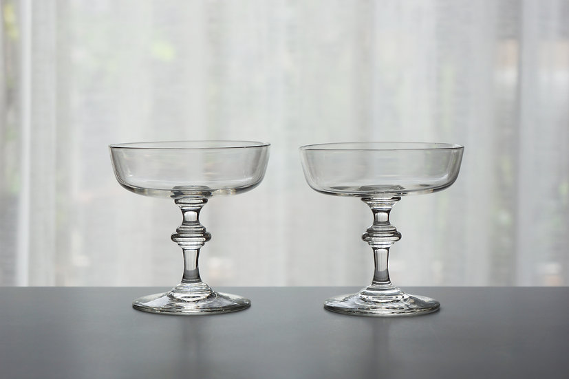 Pair Champagne Glasses / Crystal Glass / 1900s FRANCE