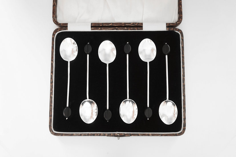 Boxed 6 Coffee Bean Spoons / BIRMINGHAM / WILLIAM SUCKLING LTD / 1926 ENGLAND