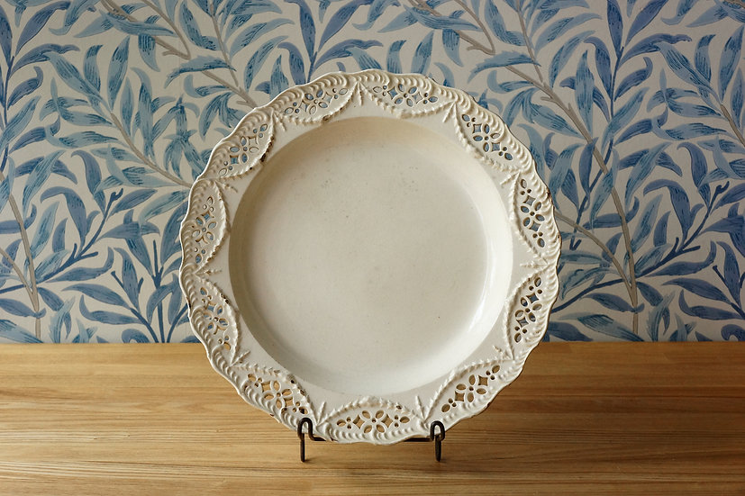 Creamware Pierced Plate / Leeds