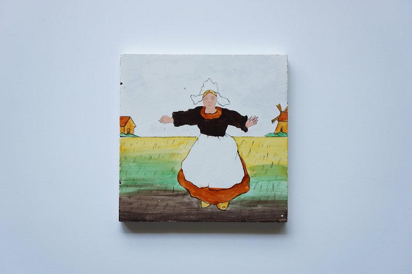 Tile / Dutch Girl / Creil et Montereau / -1890 FRANCE