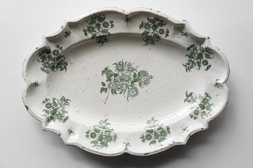 Grand Platter or Soup Tureen Stand /  Faïence de Lyon / 1700s FRANCE