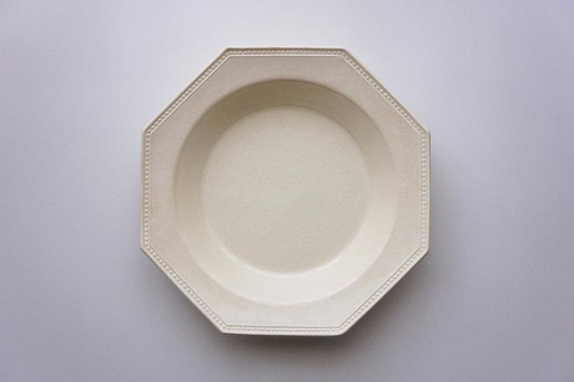 Octagonal Deep Plate / Creil et Montereau / 1890-1910 FRANCE