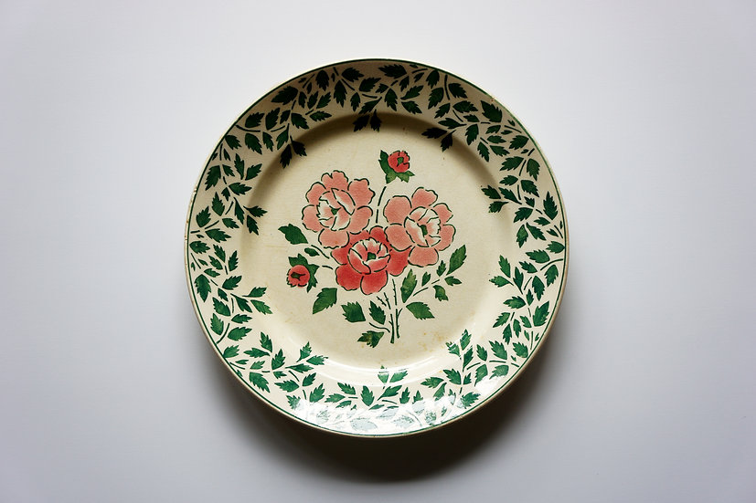 Large Plate / Secret Garden Rose / Gien / 1870s FRANCE