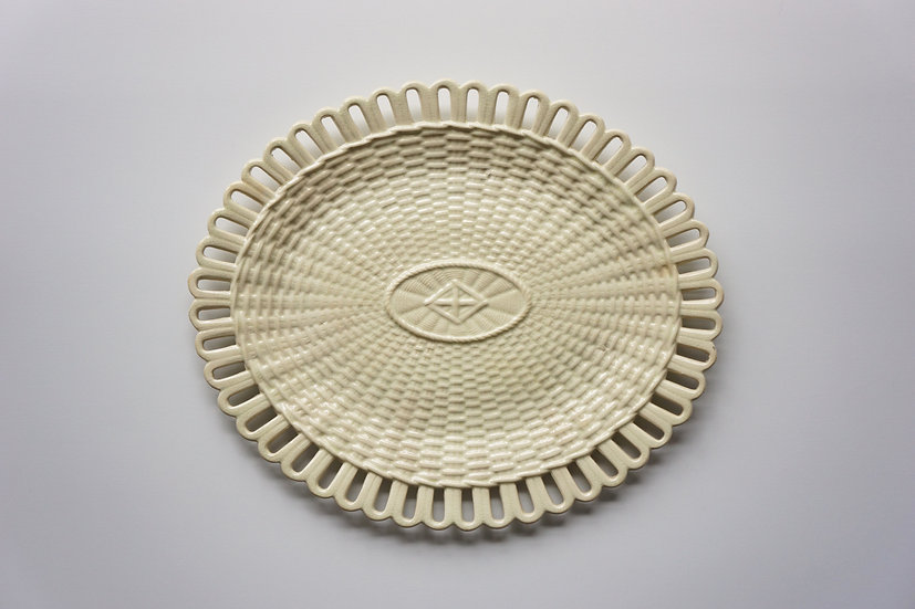 Rare Creamware Basket Plate / Chetham & Woolley / 1793-1821 ENGLAND