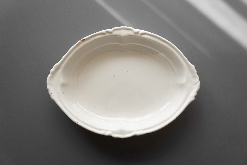 Rare Deep Oval Dish / Moustiers / 1700s FRANCE