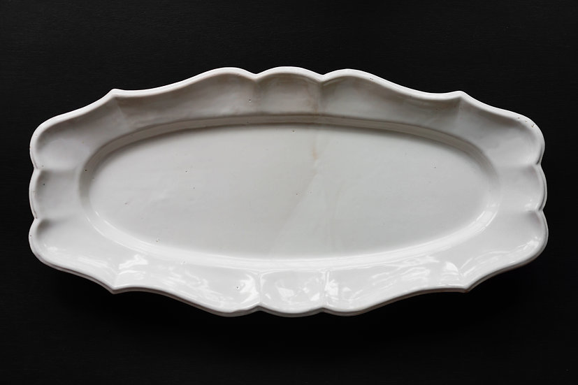 Rare Huge Faience Poisson Plate / 1700s FRANCE