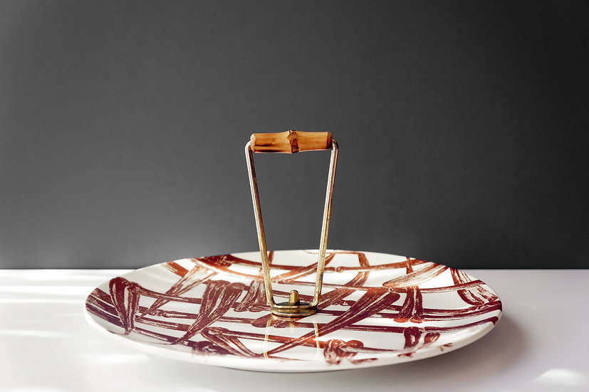 Vintage Cheese Plate / Gien / 1950's FRANCE