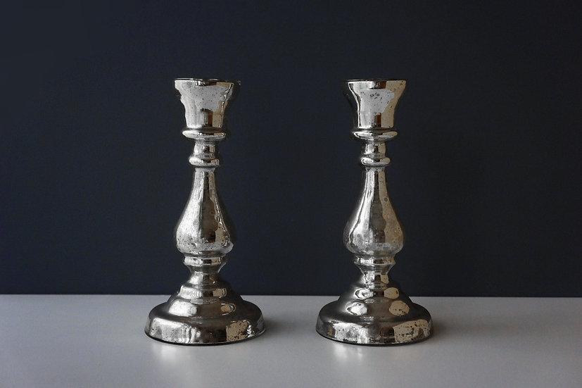 Mercury Glass Pillars / Bougeoirs en Verre au Mercure / Late 1800's FRANCE