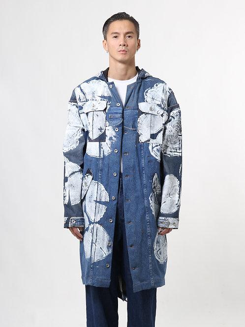 Graphic Denim Parka Coat