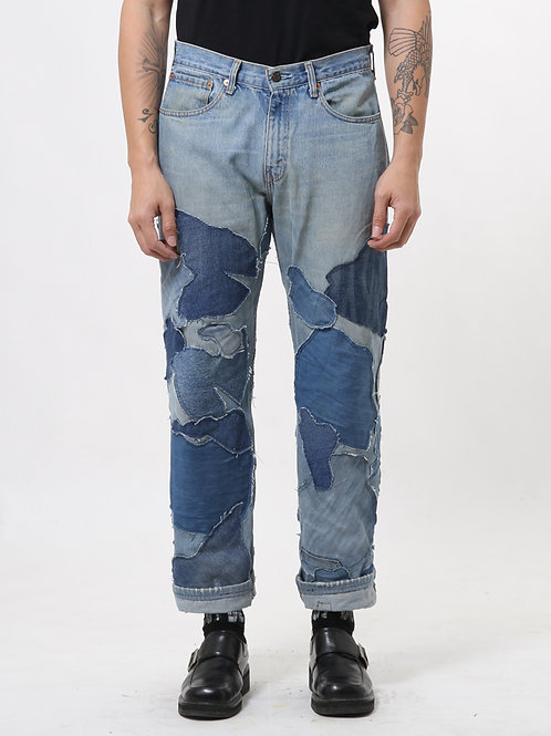 Wooden Patchwork Faded Blue Jeans