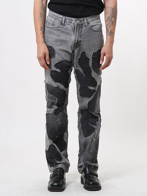 Wooden Patchwork Faded Jeans