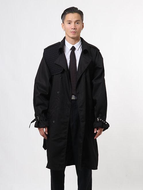 Black Single Square Trench Coat