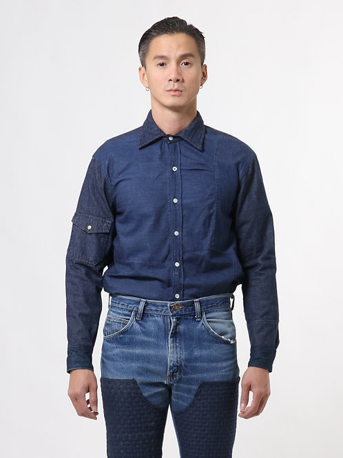 Handwoven Collar Patchwork Shirt