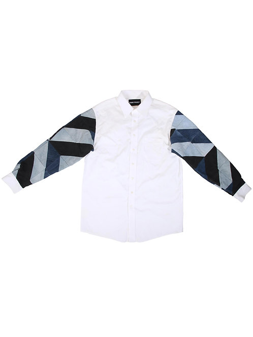 Full-Arm Denim Patchwork White Shirt