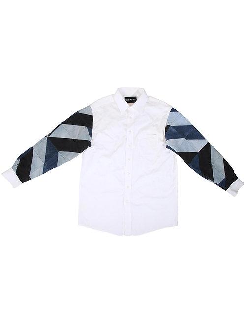 Full-Arm Denim Patchwork White Shirt
