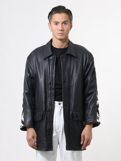 Graphic Car Coat Leather Jacket