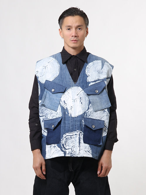 Graphic Denim Work Vest