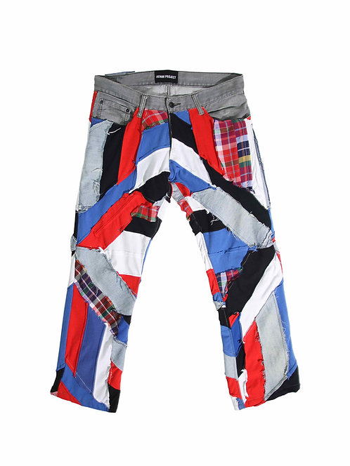Patchwork Straight Jeans