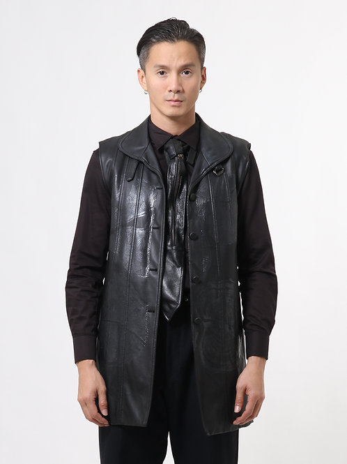 Graphic Leather Long Waistcoat