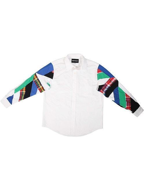 Full-Arm Patchwork White Shirt