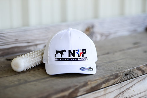 White fitted North Texas Pudel Pointer hat