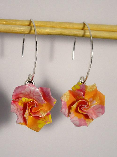 Boucle d'oreilles Floral Rose/Jaune