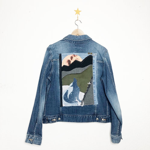 Howling Wolf Collage Jean Jacket