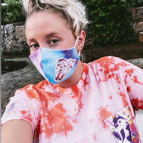 Lisa Frank: Reclaimed Tie Dye Face Mask
