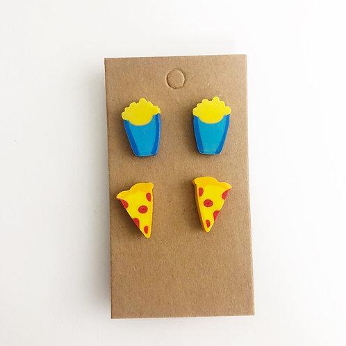 Pizza & Fries Stud Earrings Set