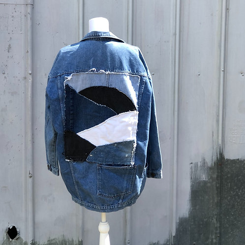 Reclaimed Denim Jacket: Midnight Sunrise