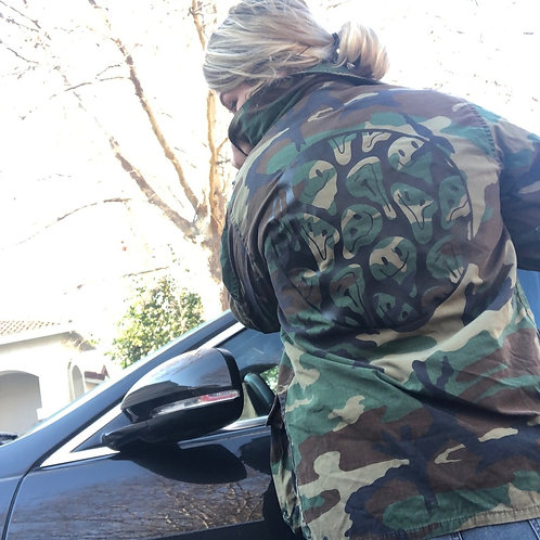 Drippy Smiley Graphic Army Jacket