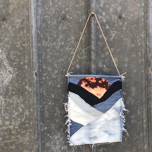 Reclaimed Denim Wall Hanging: Burning Sun