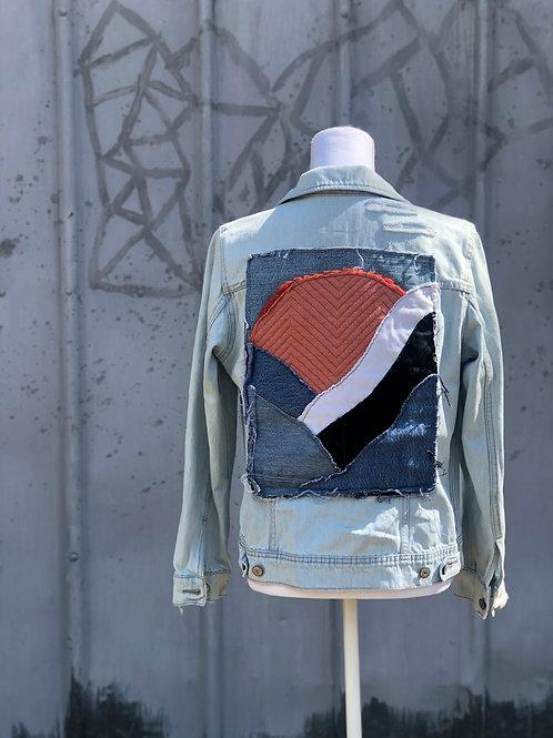 Reclaimed Denim Jacket: Sunset Serenity