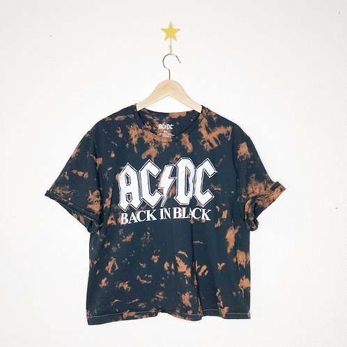 Cropped Bleached Boxy Tee: AC/DC