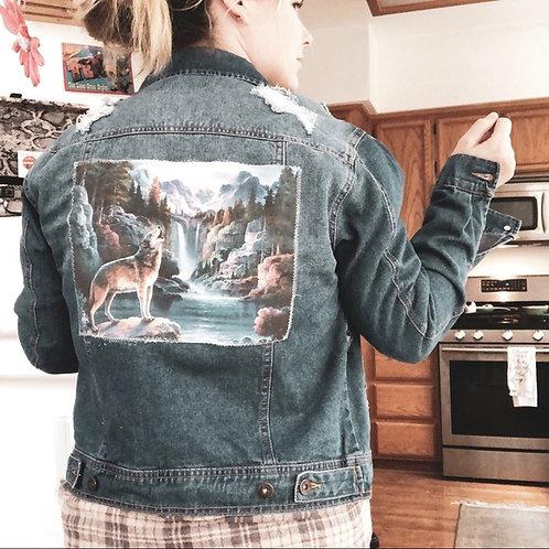Majestic Wolf Distressed Denim Jacket
