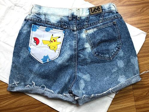 Cartoon Pocket Cut Offs: Pikachu + Pokeball