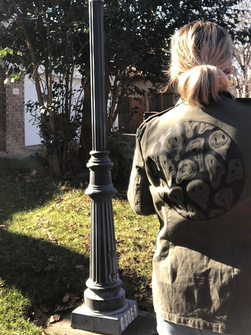 Drippy Smiley Graphic Cargo Jacket